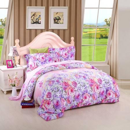 优然之家家纺URAN 1.8米床全棉生态缎纹四件套床上用品-淡淡幽情