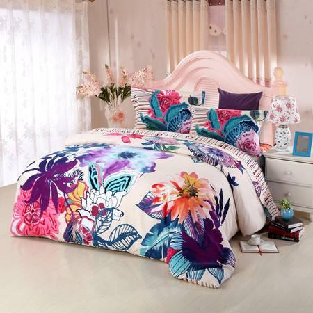 优然之家家纺URAN 1.8米床全棉加厚磨毛四件套床上用品-芳草香