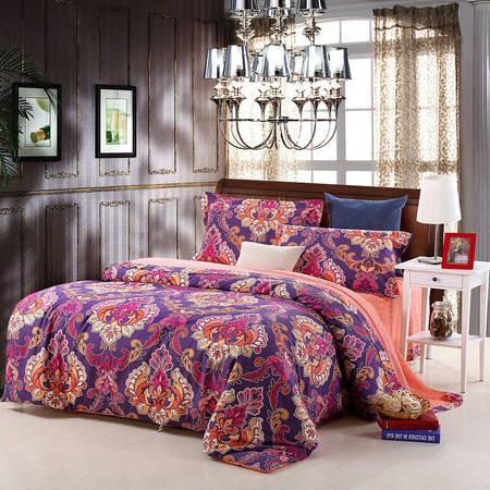 优然之家家纺URAN 1.5米床全棉生态磨毛四件套床上用品-布达佩斯