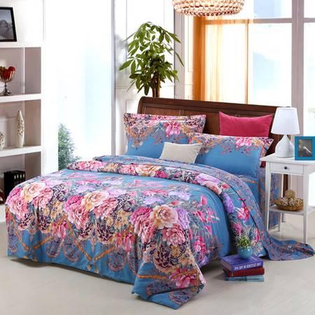 优然之家家纺URAN 1.5米床全棉生态磨毛四件套床上用品-伊诺娃