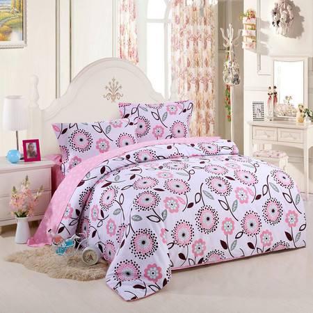 优然之家家纺URAN 全棉斜纹环保四件套床上用品-醉花吟 红 1.5米/1.8米床适用