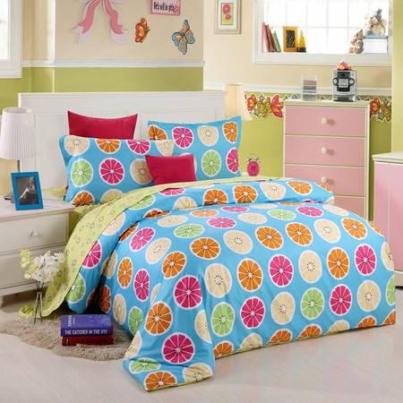 优然之家家纺URAN 全棉斜纹环保四件套床上用品-绿色果园 1.5米/1.8米床适用