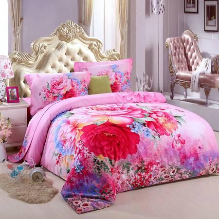 优然之家家纺URAN 1.5米床全棉加厚暖冬磨毛四件套床上用品-淡彩宁香