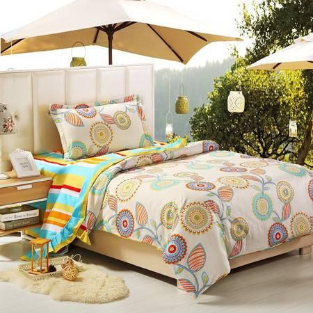 优然之家家纺URAN 1.2米床全棉喷气环保三件套套件床上用品-五彩斑斓(桔)