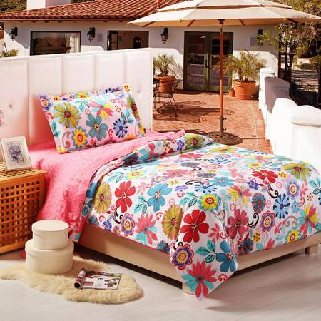 优然之家家纺URAN 1.2米床全棉喷气环保三件套套件床上用品-静谧花香(粉)