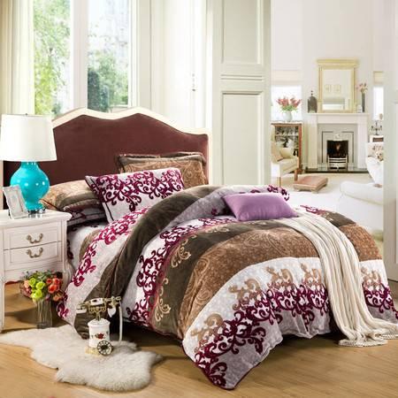 优然之家家纺URAN 1.5米床超柔加厚亲肤绒四件套套件-莱茵风情