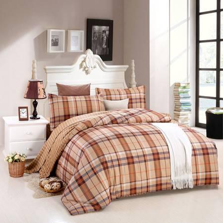 优然之家家纺URAN 1.5米床全棉斜纹环保四件套 套件-蓝调 咖