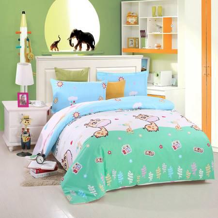 优然之家家纺URAN 1.5米床全棉斜纹环保四件套 套件-童年伙伴 绿
