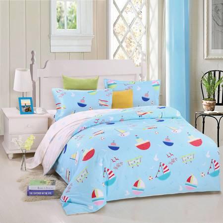 优然之家家纺URAN 1.5米床全棉斜纹环保四件套 套件-远洋梦想 蓝