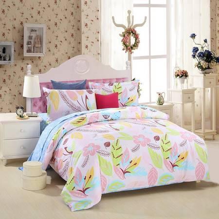 优然之家家纺URAN 1.5米床全棉斜纹环保四件套 套件-豆蔻年华
