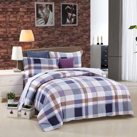 优然之家家纺URAN 1.5米床全棉斜纹环保四件套 套件-畅想时光 蓝