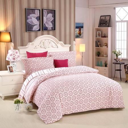 优然之家家纺URAN 1.5米床全棉斜纹环保四件套 套件-浓情绽放