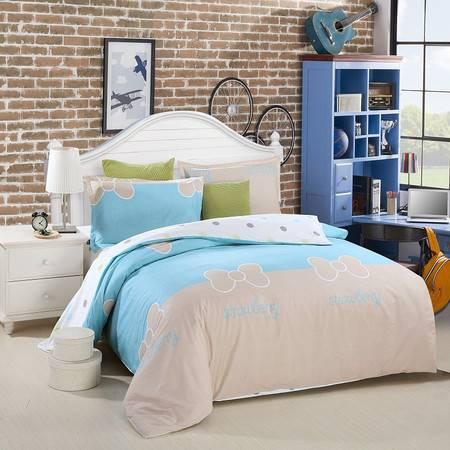 优然之家家纺URAN 1.5米床全棉斜纹环保四件套 套件-彩虹甜心 蓝