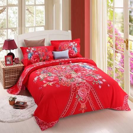 优然之家家纺URAN 1.5米床全棉加厚磨毛四件套套件-爱恋(红)