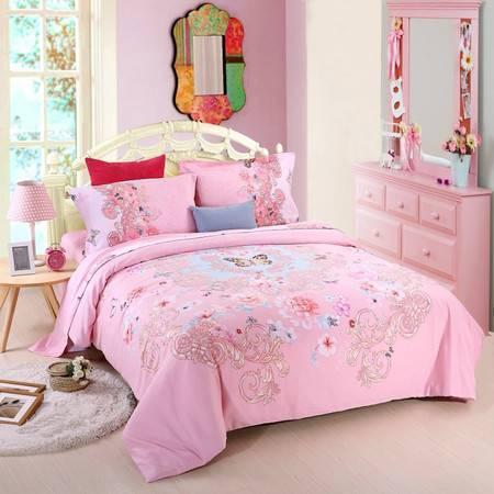 优然之家家纺URAN 1.5米床纯棉阳绒四件套套件-蝶玉玲珑