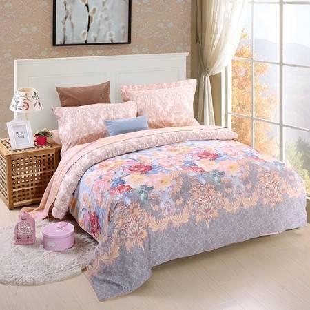 优然之家家纺URAN 1.5米床全棉加厚磨毛四件套套件 璀璨花魅