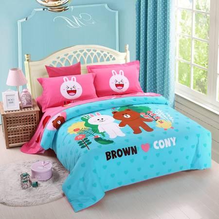 优然之家家纺URAN 1.5米床全棉加厚磨毛四件套套件-幸福生活