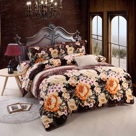 优然之家家纺URAN 1.5米床加厚亲肤绒毯毛毯休闲毯四件套-雅韵花香