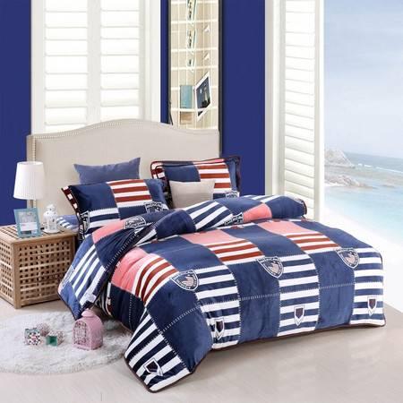 优然之家家纺URAN 1.5米床加厚亲肤绒毯毛毯休闲毯四件套-美国大兵