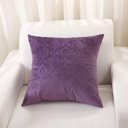 优然之家家纺URAN 意大利绒时尚靠垫腰靠-紫色 53*53cm