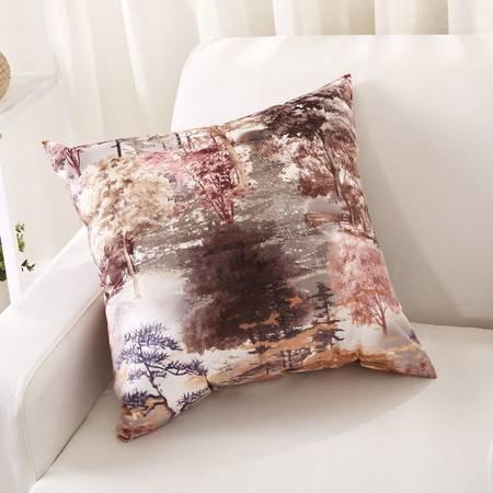优然之家家纺URAN 炫彩时尚靠垫腰靠-紫色 53*53cm