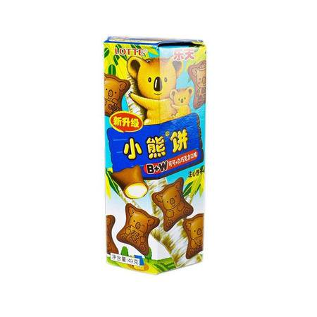 乐天小熊饼 可可鲜奶 49g*10