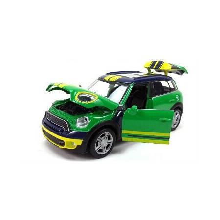 1:28宝马迷你古巴 COUNTRYMAN 合金汽车模型 2014巴西世界杯纪念限量版 带回力