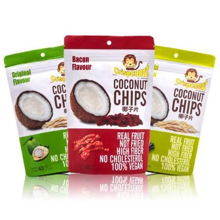 其脆牌crispconut泰国烧烤芥末原味椰子片干三种组合香脆零食包邮