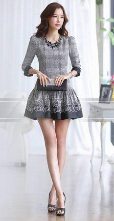 高品质2014新款韩版乱麻印花连衣裙