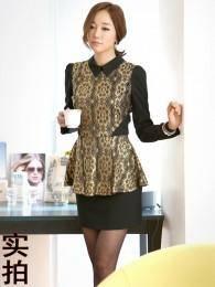 2014新款金色蕾丝翻领OL职业连衣裙