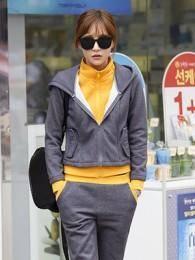 2014秋冬新款韩版加厚加绒卫衣套装保暖显瘦