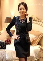 2014秋冬新款韩版修身假两件气质连衣裙送项链