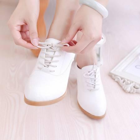 秋冬新款中跟粗跟牛筋底系带深口单鞋高端大气休闲女鞋皮鞋