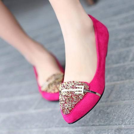 2015春季新款真皮水钻时尚单鞋 小坡跟尖头舒适女鞋