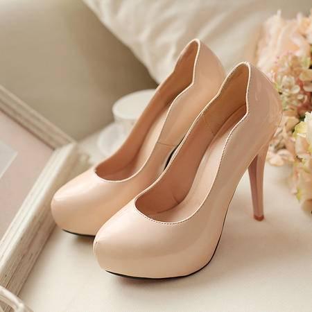 2015新款春秋单鞋 高级彩色漆皮细跟高跟鞋 欧美气质女鞋