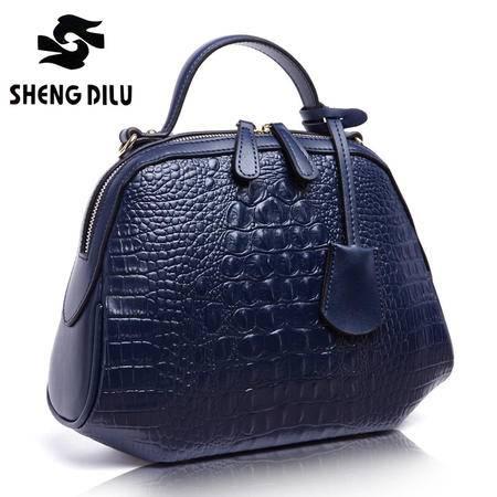 2015新款女包欧美手提包包真皮女包鳄鱼纹淘宝爆款斜贝壳包