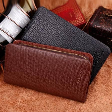 双拉链男士长款钱包手拿包手抓包 大容量多卡位真皮手机钱包