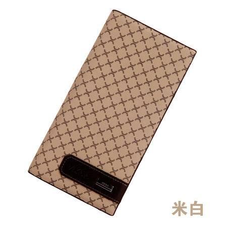 【促销】钱包男款 长 格子多卡位包 定做现货 创意皮具 休闲