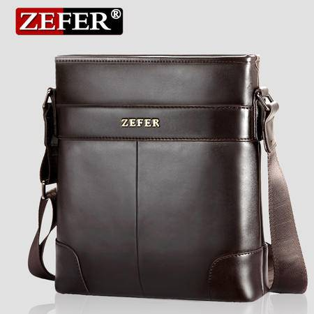 ZEFER新款牛皮男包 韩版休闲男士单肩包 斜挎包包 商务背包
