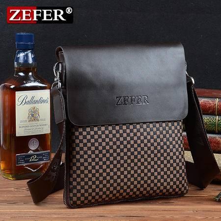 ZEFER 男士单肩包品牌斜挎包 水立方时尚格纹休闲包