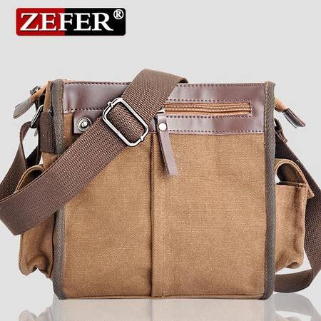 ZEFER街头新款帆布男单肩包包帆布男包休闲必备英伦男士挎包包