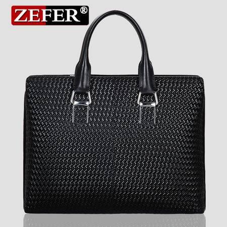 ZEFER 新款牛皮男包男士手提包单肩包斜挎包商务公文包
