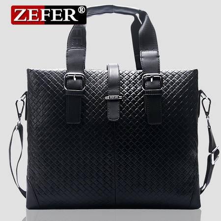 ZEFER公文包 英伦商务编织纹提包 单肩斜挎手提包