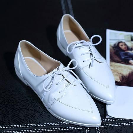 2015秋季新款英伦平底小白鞋平底系带女鞋单鞋