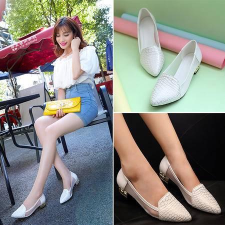 2015秋季新款尖头粗跟单鞋女网纱拼接低跟女鞋
