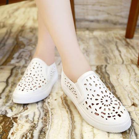 2015秋季新款韩版平底圆头女鞋镂空松糕跟单鞋