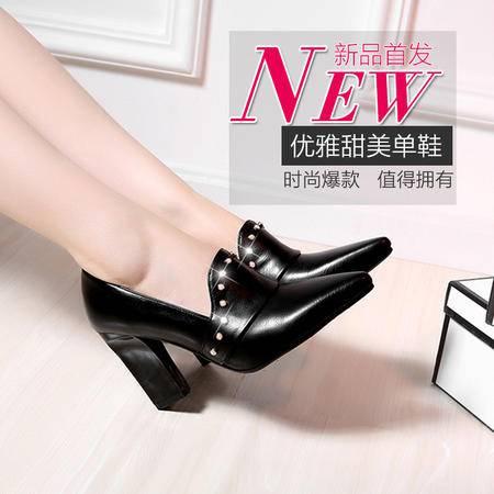2015秋季新款欧美尖头粗跟女鞋高跟水钻单鞋