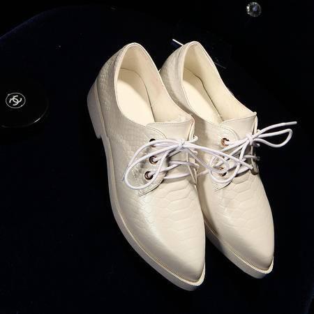 真皮2015秋季新款英伦尖头单鞋女平底系带女鞋