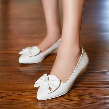 2015秋季新款尖头平底坡跟单鞋女蝴蝶结低跟女单鞋