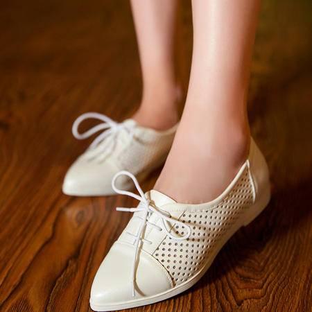 2015秋季新款平底尖头单鞋女系带镂空学生鞋甜美女鞋